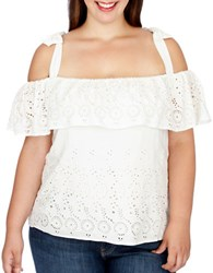 Lucky Brand Plus Cutout Off The Shoulder Top White