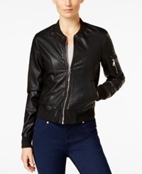 Madden Girl Faux Leather Bomber Jacket Black