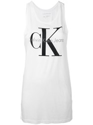 Calvin Klein Jeans Ck Tank Top Women Cotton Lyocell Xs White