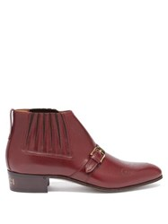 Gucci Buckled Gg Perforated Leather Boots Burgundy
