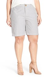 Plus Size Women's Sejour 'Addison' Stretch Twill Bermuda Shorts Navy Ivory Mini Stripe