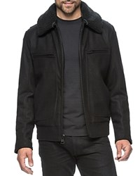 Andrew Marc New York Concord Faux Shearling Trim Bomber Jacket Compare At 300 Black