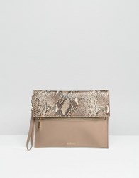 Modalu Leather Clutch Bag Mink Snake Mix Beige