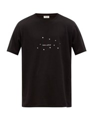 Saint Laurent Logo And Star Print Cotton T Shirt Black Silver