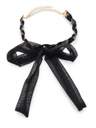Ettika Bow Mesh Ribbon And Leather Choker Black
