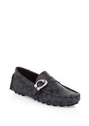 Coach Logo C Strap Driver Loafers Charcoal