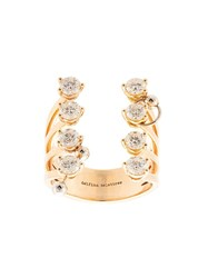 Delfina Delettrez 18Kt Yellow Gold Pierced Diamond Dots Ring Silver