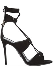 Thomas Wylde Lace Up Sandals Suede Black
