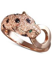 Effy Collection Effy Signature White And Black Diamond 5 8 Ct. T.W. And Emerald Accent Panther Ring In 14K Rose Gold