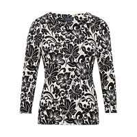 Viyella Woodcut Floral Top Natural Black