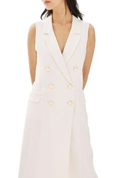Topshop Women's Double Breasted Blazer Dress Ivory