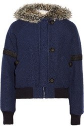 Band Of Outsiders Faux Fur Trimmed Wool Blend Bomber Jacket Blue