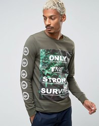 Hype Long Sleeve Tee With Floral Statement And Sleeve Print Khaki Green