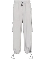Sunnei Loose Fit Cargo Pocket Drawstring Trousers Grey