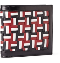 Thom Browne Woven Leather Billfold Wallet Blue