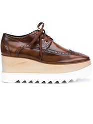 Stella Mccartney 'Elyse' Wooden Platform Brogues Brown