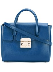 Furla Detachable Strap Fold Over Tote Blue