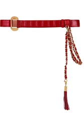 Emilio Pucci Chain Embellished Alligator Belt Red
