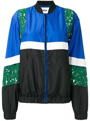 Msgm Lace Detail Bomber Jacket Blue