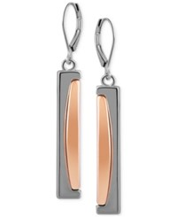 T Tahari Hematite Tone Leverback Drop Earrings