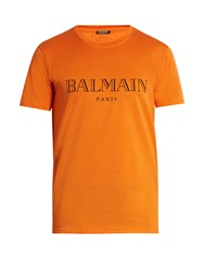 Balmain Logo Print Cotton T Shirt Orange