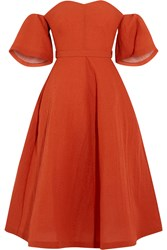 Vika Gazinskaya Off The Shoulder Silk Blend Cloque Dress Red