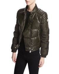 Moncler Clematis Quilted Leather Moto Jacket Olive