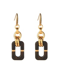 Diane Von Furstenberg Geometric Wood And Gold Plated Drop Earrings