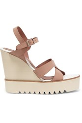 Paloma Barcelo Twisted Leather Wedge Sandals Brown