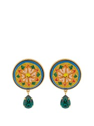 Dolce And Gabbana Daisy Crystal Embellished Earrings Green Multi