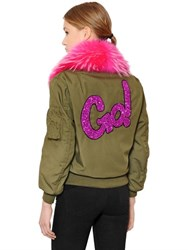 Forte Couture Cotton Canvas Bomber W Murmansky Fur