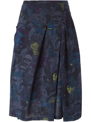 Zucca Illustration Print Skirt Grey