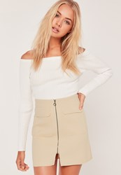 Missguided Zip Front Mini Skirt Nude Pink