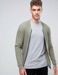 Asos Knitted Bomber In Cotton With Waffle Texture Slate Stone Green
