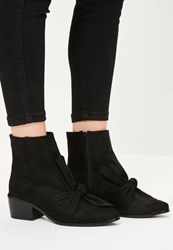 Missguided Black Faux Suede Bow Detail Ankle Boots