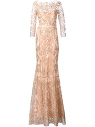 Marchesa Notte Embroidered Gown Nude And Neutrals