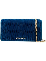 Miu Miu Quilted Wallet On Chain Blue