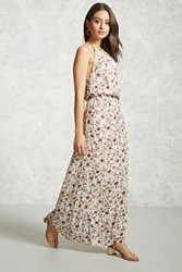 Forever 21 Floral Print Maxi Dress Cream Taupe
