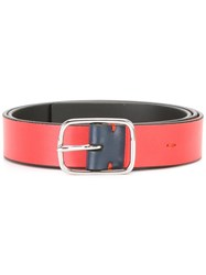 Paul Smith Silver Tone Hardware Belt Red