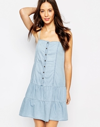 Esprit Button Through Denim Mini Dress Blue