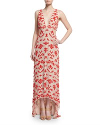 Alice Olivia Juela Cutout High Low Gown Nude Poppy Size 2 Orange Nude Poppy
