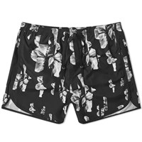 Neil Barrett All Over Print Hibiscus Swim Short Black