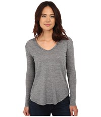 Chaser Tri Blend High Low Open Back Tee Streaky Grey Women's T Shirt Pewter