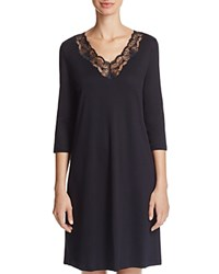 Hanro Valencia Three Quarter Sleeve Sleep Gown Black