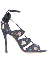 Tabitha Simmons Floral Embroidery 'Honor' Sandals Women Cotton Calf Leather Leather 39.5 Blue