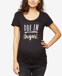 Motherhood Maternity Ruched Graphic T Shirt August