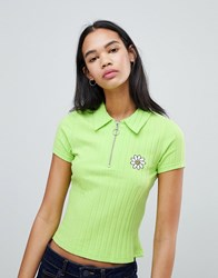 Lazy Oaf Ribbed Polo Shirt With Flower Lime Green
