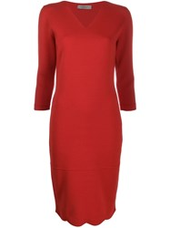 D.Exterior Fitted Knit Dress Red