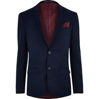 River Island Navy Skinny Fit Suit Jacket