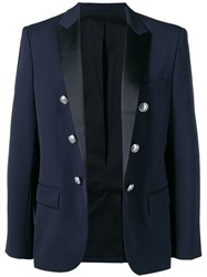 Balmain Double Breasted Suit Jacket Blue